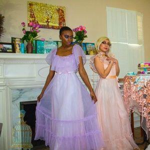 Lavender Vintage Off the Shoulder 70's/80's Dress